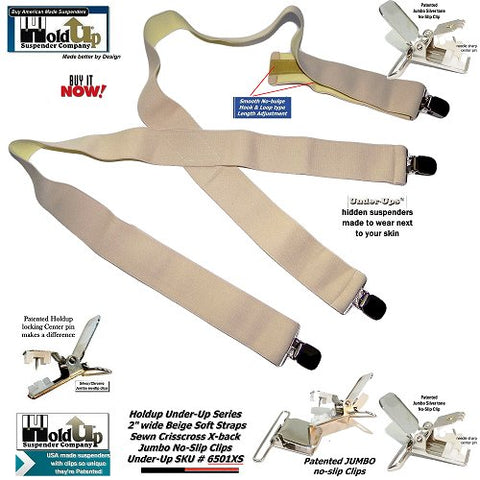 "HoldUp Brand 2"" Wide Undergarment Hidden Suspenders with No-slip Silver-tone center pin type Clips"