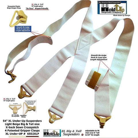 Holdup 2 inch wide XL hidden airport friendly Hidden suspenders made to wear under your shirt next to your skin.