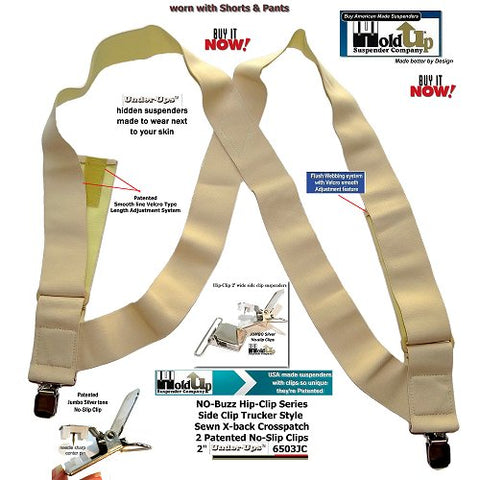 "Hip-clip style  2"" Wide Hold-Ups Undergarment  Suspenders with Patented No-slip Metal Clips are made in the USA"