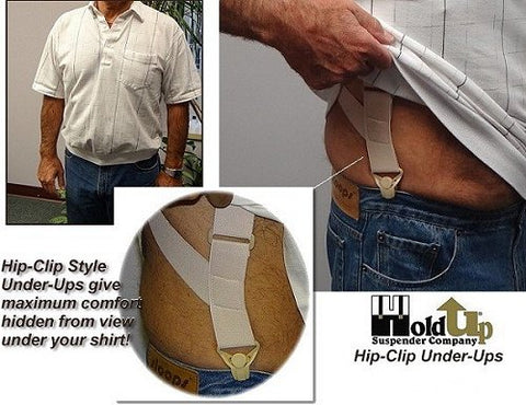 Hidden Undergarment soft comfort side-clip suspenders made to wear under your shirt with beige jumbo gripper clasps