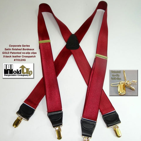 X-back Corporate Series Bordeajuz burgundy satin finished Holdup suspenders