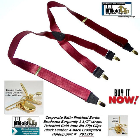 dark shiny SATIN finished Bordeaux wine color of these businessman's fancy clip-on formal looking suspenders are made in the USA