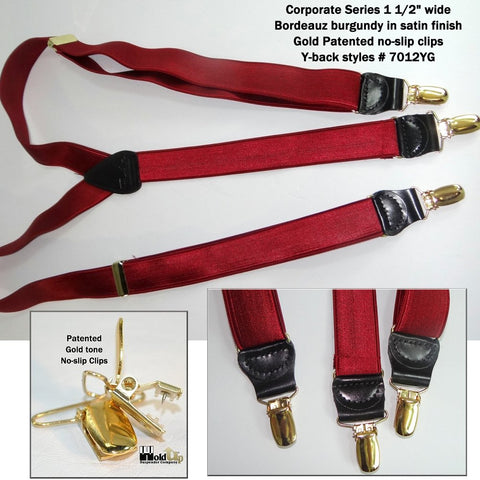 Holdup dressy burgundy satin sheen men's clip-on Y-back suspenders with patented Gold tone no-slip clips