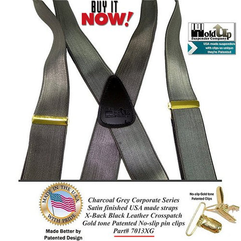 These Charcoal Grey dense weave formal looking Holdup suspenders are made in the USA