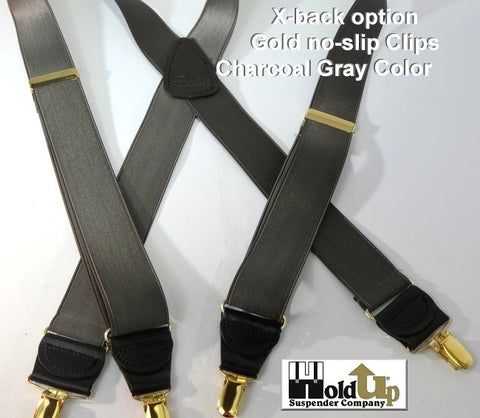 Hold-Ups Charcoal Gray Satin Finished Corporate Suspenders X-back with Gold Clips