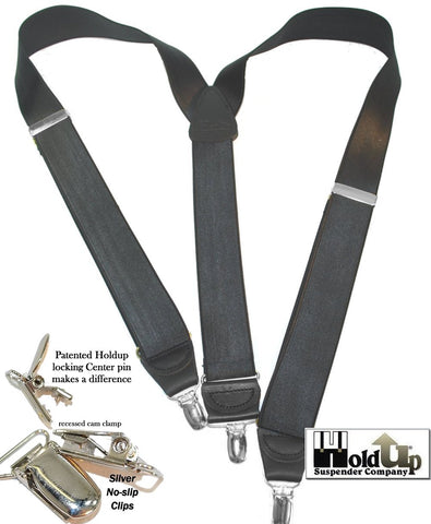 "Hold-Ups Gray 1-1/2"" Satin Finish Corporate Series in Y-back with No-slip Silver clips"