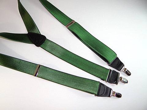 "Holdup Suspenders Corporate Series 1 1/2"" wide and 48"" long ""Forest GREEN"" Y-back style clip-on suspenders featuring our patented nickel/chrome finish NO-SLIP clips"
