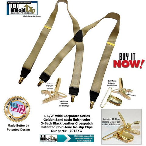 "Holdup Suspender Company introduces the ""Golden Sand Tan"" American made satin finished X-back suspenders with Gold-tone no slip clips"