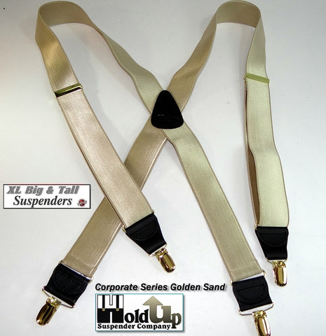 XL formal satin finished golden tan Holdup suspnders with gold tone patented no-slip clips