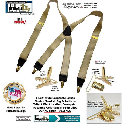 Corporate Series Holdup XL Golden Sand tan suspenders with smooth satin dense weave straps and Golden no-slip clips