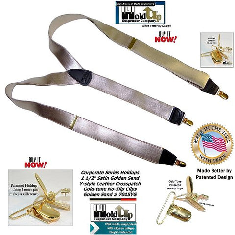 USA made Golden Sand Corporate Series Y-back Holdup Suspenders with golden no-slip clips