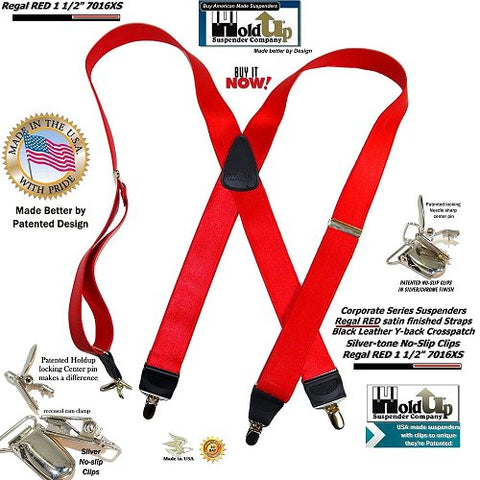 Holdup Brand Regal Red Satin Finish X-back suspenders with Patented No-slip silver-tone Clips