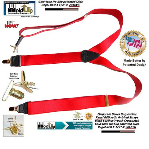 Corporate Series Regal Red Y-back satin finished Holdup suspenders with patented Golden no-slip center pin clips