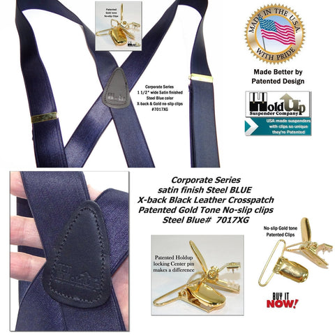 Satin finished Steel Blue Corporate Series Holdup suspenders with Gold no-slip clips are made in the USA