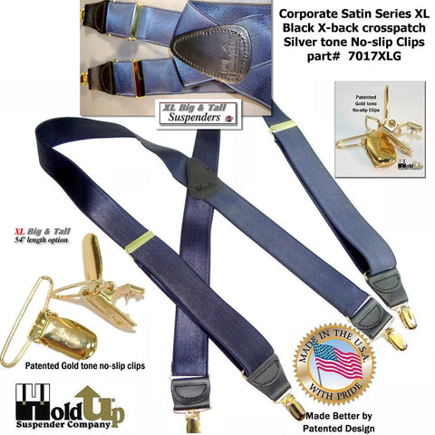 Steel Blue satin finished extra long Holdup Corporate Series X-back Holdup suspenders