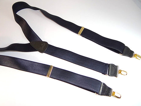 Corporate Series Y-back Steel Blue satin finished Holdup Suspenders with gold no-slip clips