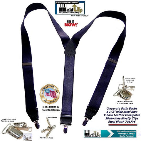 Holdup Brand Steel Blue Satin Finish Y-back Suspenders with No-slip Silver-tone Clips