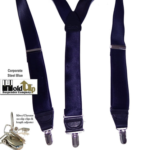 Y-back Steel Blue satin finished Corporate Series Holdup brand suspender