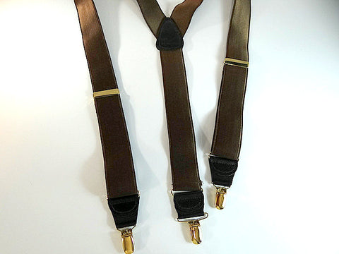 Dark Walnut Brown Y-back Corporate Series Holdup Suspenders with Silver no-slip clips