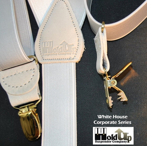 "Hold-Ups White 1 1/2"" Satin Finish Suspenders Y-Back Patented No-slip Gold Clips"