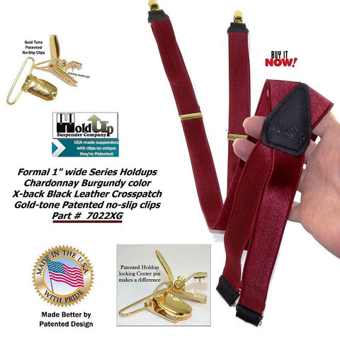 Chardonnay Burgundy single clip X-back wedding suspenders with patented gold-tone no-slip clips