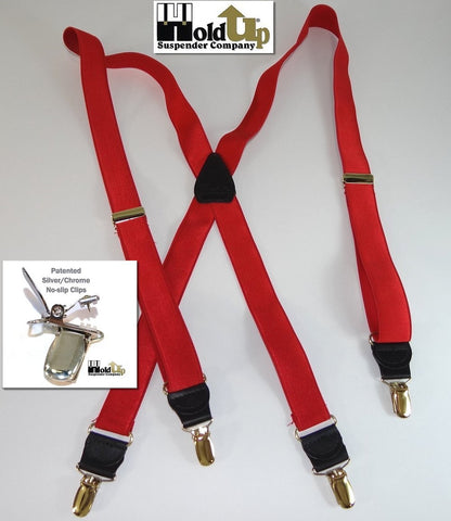 Holdup Formal Series Chardonnay burgundy X-back satin finished suspenders with silver clips