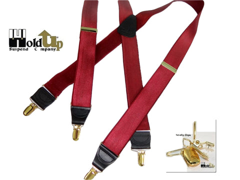 Formal Series Chardonnay Burgundy X-back Holdup Suspenders with gold tone patented no-slip clips