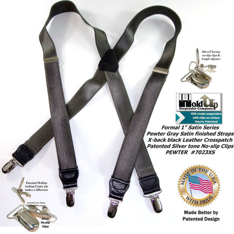 "Holdup BrandPewter Grey Satin Finished 1"" Suspenders in X-back style with Silver tone No-slip clips"