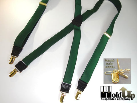 Satin finished deep green Hokldup Formal Series Suspenders with X-back option and gold tone no-slip clips