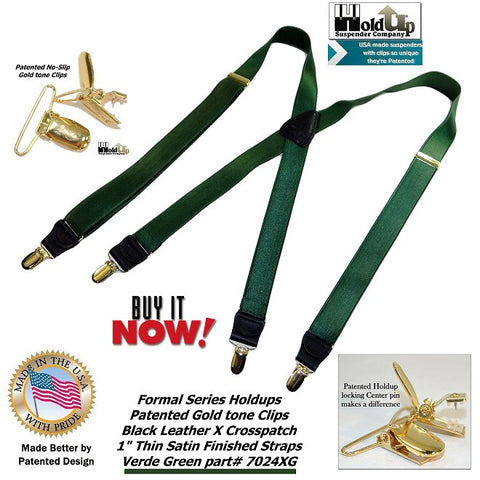 "Holdup Suspender Company's Dark Verde Green 1"" satin finish Suspenders X-back and patented no-slip Gold-tone Clips"