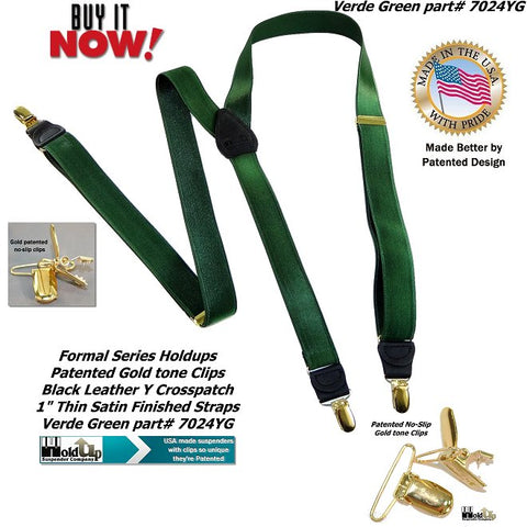 "Holdup Brand Dark Verde Green 1"" wide Satin finished Y-back Suspenders with No-slip Gold-tone Clips"