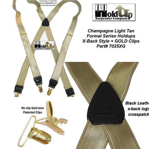 "Hold-Ups Champagne Tan 1"" Formal Series satin finished Suspenders X-back Gold Clips"