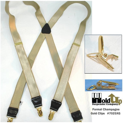 "Narrow 1"" wide satin finished Champagne golden tan Holdup suspenders in X-back style with gold tome no-slip clips"