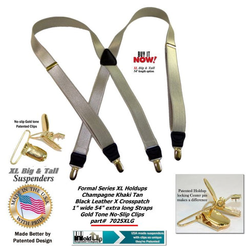 "Holdup's Formal Wear Series - ""Champagne"" golden/khaki tan color suspenders featuring our patented no-slip clip in new 1"" width and 54"" adjustable length."