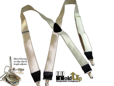 "X-back Golden champage tan Holdup formal Series suspenders in a narrow 1"" width and standard 48"" length"