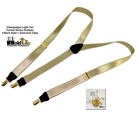 Y-back styles Formal Series Holdup suspnders in light satin finished Champagne tan color with gold tone clips