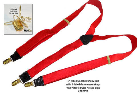 Cherry Red satin finished Holdup Formal Series dressy suspenders with Gold tone no-slip clips