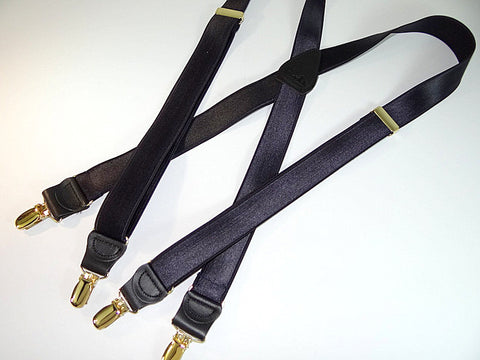 "Hold-Up Suspender's Formal Wear Series clip-on X-back suspenders in ""SATIN BLUE"" dark navy color featuring our patented NO-SLIP clips in gold tone"