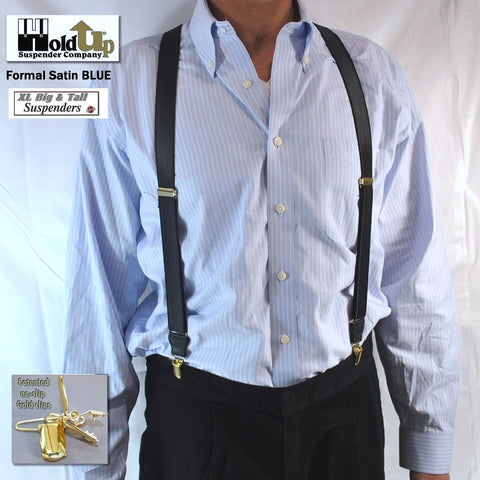 "Dark Satin blue Holdup XL suspenders are made in the USA and have narrow 1"" wide straps and X-back styling in 54"" length"