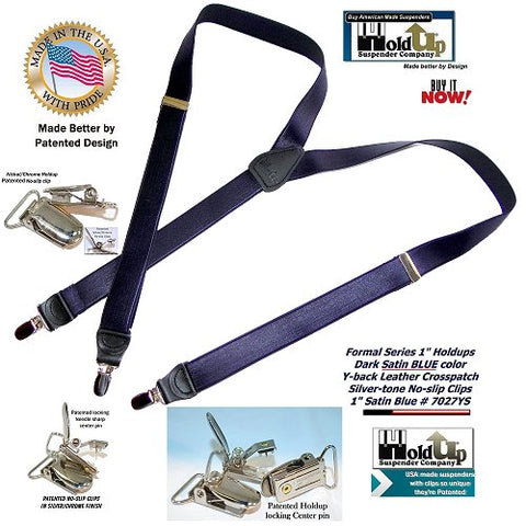 HoldUp formal Series narrow Y-back Holdup Satin Blue suspenders made in the USA better by patented design