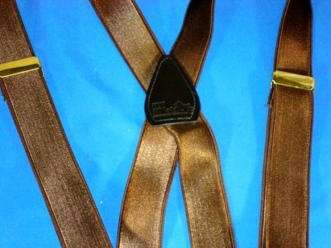 Formal Series Chocolate Brown satin finished narrow Holdup brand suspenders are made in the USA