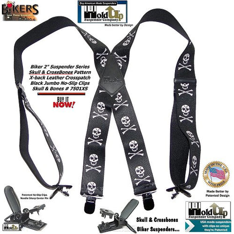 USA made Biker Skull & Bones pattern Holdup X-back suspenders with black Jumbo No-slip patented clips
