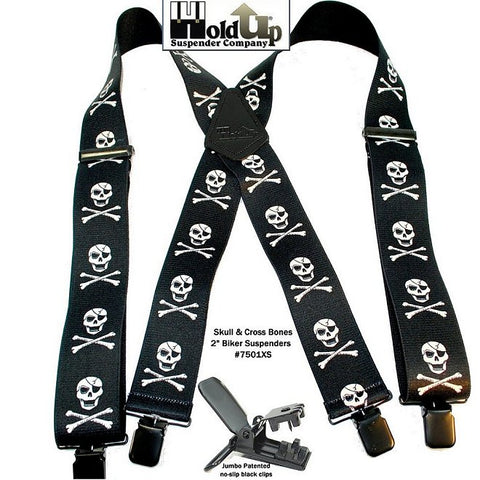 Harley Biker Suspenders in a Skull and Crossbones white on black pattern with jumbo no-slip clips