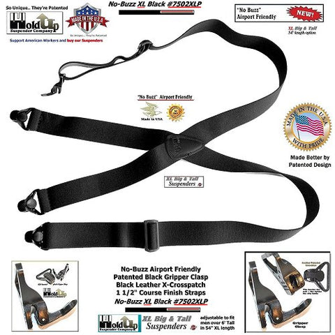 "These all black Holdup airport friendly clip-on suspenders are 1 1/2"" wide and adjustable to 54"" in length for the Big & Tall man."