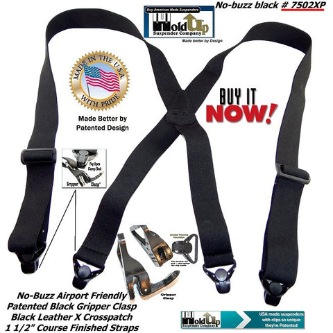 No-alarm Holdup all black traveler suspenders that won't trigger metal detectors in secure buildings