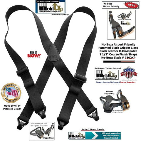 Holdup Brand No-buzz Airport Friendly Black X-Back Suspenders with composite plastic strong Patented Gripper Clasp