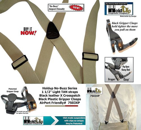 American made light tan No-Buzz x-back Holdup Suspenders with patented black Gripper Clasps