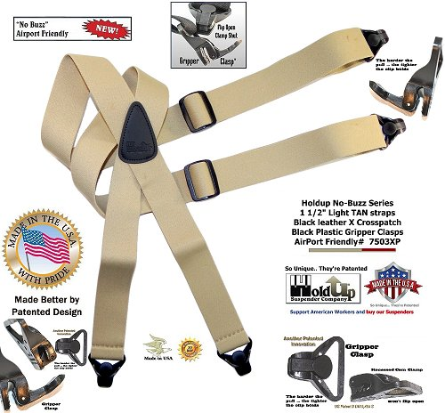 Holdup Suspender Brand No-buzz Series Airport Friendly light TAN Suspenders with black leather X-Back Crosspatch and Patented Gripper Clasps
