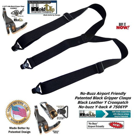 Holdup Brand Airport Friendly all Black Y-back suspenders that won't trigger metal detectors