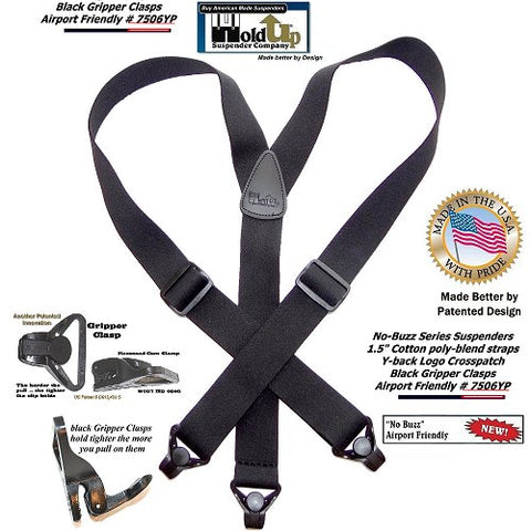 Y-back black Holdup No-Buzz metal free airport friendly suspenders with patented Gripper clasp